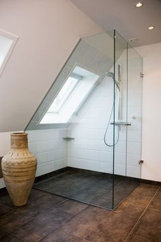 could be light airy feel with light floor for upstairs shower room Loft Bathroom, Upstairs Bathrooms, Bathroom Interior, Small Bathroom, Attic Design, Loft Design, House Design, Attic Renovation, Attic Remodel