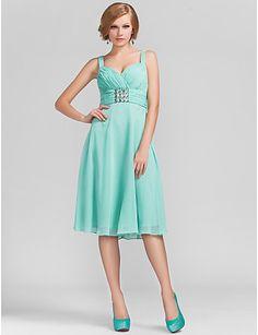 A-line Princess Sweetheart Knee-length Chiffon Evening Dress