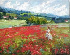poppy field original oil painting landscape impressim Idkowiak