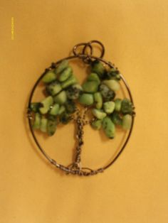 Bronze Tree of Life Pendant - Grass Turquoise Bead Chips   1 3/4 x 2 1/2   w free ribbon necklace