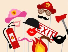 Fireman Photo booth Props, Fireman Photobooth, Fireman props, Fireman, wedding Photo Booth Props, party photobooth, Bridal Shower Props