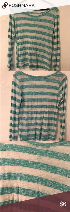 Turquoise striped shirt Turquoise striped shirt from Maurice's.  Great condition with no rips or stains Maurices Tops Blouses