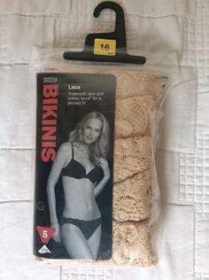 M&S 5 BIKINIS pack Lace Supersoft lace&Cotton LYCRA perfect fit UK16 BNIP RRP£12