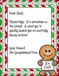 Gingerbread Hunt in the School by Teaching With Style Gingerbread Man Activities, Christmas Activities, Preschool Activities, Winter Activities, Preschool Classroom, Preschool Christmas, Christmas Fun, Christmas Ornament, Christmas Gingerbread