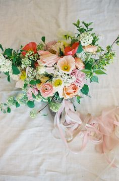 View entire slideshow: Peaches and Cream Bouquets That Are Totally Sweet on http://www.stylemepretty.com/collection/2865/