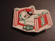 Vintage c1930s WALT DISNEY Small Shaped CHRISTMAS Gift Tag w/MICKEY MOUSE In Bed