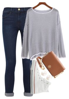 """""""ootd"""" by elizabethannee ❤ liked on Polyvore featuring Frame Denim, Converse, Tory Burch, women's clothing, women's fashion, women, female, woman, misses and juniors"""