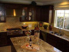 images of finished exotic granite in kitchens | Golden Beach Granite Kitchen Countertop Island Finished Installed ...