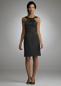 Sophisticated and chic, this slim satin dress is a great choice for any bridal party.  Y-neck bodice features on trend pleating detail for added dimension.  Ruching detail cinches the waist for a flattering fit.  Hidden pockets add convenience and are right on trend.  Sleek satin fabric adds glamour to any bridal party.  Fully lined. Back zip. Imported polyester. Hand wash or dry clean.  Select colors are on sale. Please click color and size to view pricing