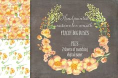 Watercolor wreath of peach Dog roses by Lolly's Lane Shoppe on Creative Market
