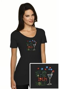 """Women's """"Get Me To The 19th Hole"""" Bling Golf T-Shirt."""