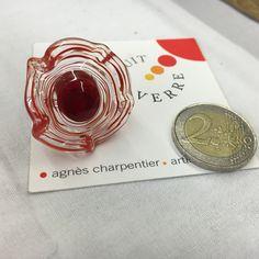 bague en verre de murano travaillée au chalumeaux - couleur rouge et transparence : Bague par bruitdeverre