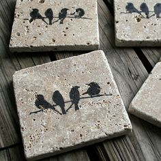 travertine tile coasters