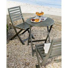 Salon de jardin table et 2 chaises bois grisé