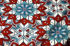 Ptx18 340048-81 Tricot grote fantasie bloemen bordeaux/aqua