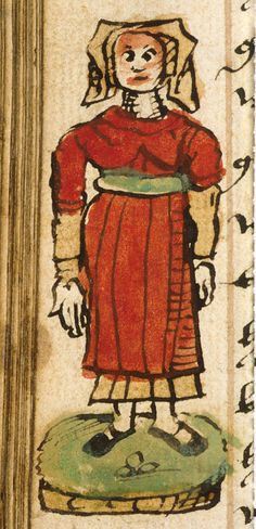Sloane 776, f. 26v, Detail of a marginal drawing of a standing woman.