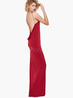 Red Backless Slip Dress - Milanoo.com