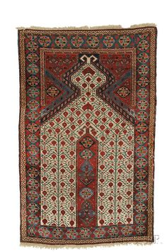 Beshir Prayer Rug, West Turkestan, first half 19th century, (outer guard stripe rewoven on both ends, small crude repairs, very slight moth damage), 5 ft. 6 in. x 3 ft. 6 in. Estimate $15,000-20,000  Beshir Prayer Rug, West Turkestan, first half 19th century,