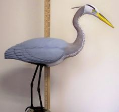 Bird Carving Great Blue Heron basswood cutout ,blank,Egret,decoy,bass wood,crane