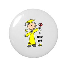 Stick Figure Boy Graduate 2.25 Round Magnet | Toddlers Place