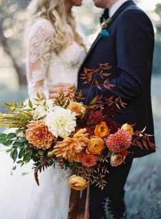 autumn colors bouquet   Sarah + Ian by Bashplease -  Santa Barbara, California - Tec Petaja Photography
