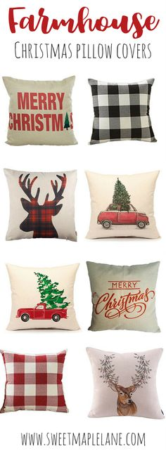 Farmhouse Style Christmas Pillow Covers - Home Design Ideas Country Christmas, All Things Christmas, Christmas Time, Christmas Crafts, Christmas Decorations, Xmas, Christmas Ideas, Easy Sewing Projects, Sewing Projects For Beginners