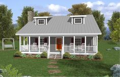 Plan No. 272131 - Welcome home to this 1,334 sq. ft. plan, ideal for a vacation home, starter home or a down-sizing empty-nester. Relax on cozy front and rear rocking chair porches. Construction-friendly shed dormers enhance the home's rustic appeal while illuminating the vaulted family room, country kitchen and bedroom #2. The spacious main level master suite features a walk-in closet, sitting area and master bath.