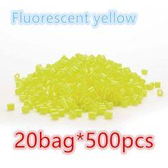 10000pcs Fluorescent yellow Hama/Perler Beads Toy Kids Fun Craft DIY Handmaking Fuse Bead Creative Intelligence Educational Toys #Affiliate