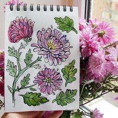 Milana Samarskaya #flowers #autumn #sketchbooks #illustration #watercolor