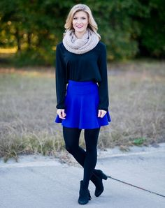 Who said a skirt can't be cozy and cute?  This pull-on skirt is a super soft sweater material in a grougeous cobalt blue.  Looks great paired with any of your favorite plaid, leggings, or scarves this season.