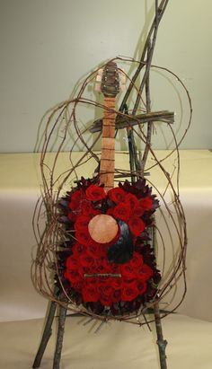 Sympathy Flat Work  Guitar of Flowers - Sympathy Tribute for Musician  Mill Street Florist