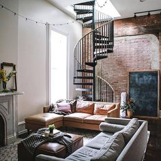 35 Top Guide of Best Interior and Loft Design Ideas in Industrial Style - myhomeorganic Interior Design Living Room Warm, Living Room Modern, Living Room Designs, Modern Staircase, Staircase Design, Spiral Staircase, Staircases, Loft Design, Modern House Design