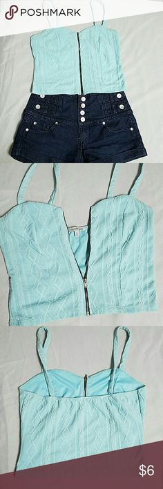 Charlotte Russe Crop Top Charlotte Russe Crop Top size large, light blue color, zip up front, stretchy, good condition with minor pre-pilling. Please message me if you have any questions! Charlotte Russe Tops Crop Tops