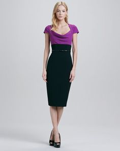 Virtue Colorblock Belted Dress by Black Halo at Neiman Marcus.