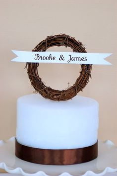 Rustic Cake Topper Wreath with Banner