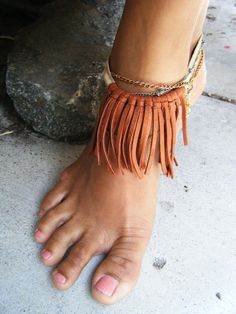 Fringe Bohemian Anklet Chain Anklet Peace by WhimsOfWanderlust