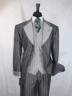 """Milano SL2911v """"Grey Silver Pin Stripe"""" Vested  Men's Suit 4 button Single Breasted and has Pleated Pants with  double side vented Jacket available for $179.99 @ BerganBrothersSuits.com"""