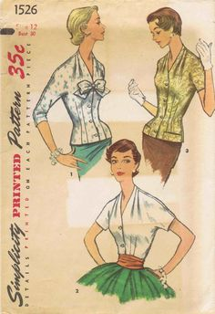1956 Simplicity 1526 Womens Tuck In V Neck Blouse by patternshop