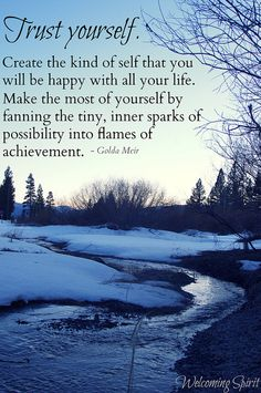 "Inspiring quote - trust, happy, achievement, golda meir ""Trust yourself."""