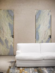 Céline Store Soho, white couch, marble doors