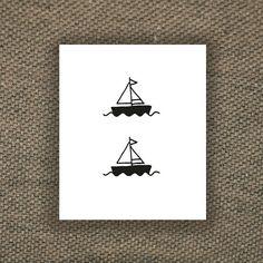 Deux tatouages temporaires de petit bateau 2 pièces par Tattoorary