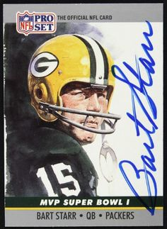 Sports Integrity 19328 Bart Starr Signed Bay Packers 1990 Pro Set Trading Card - JSA, Green, As Shown