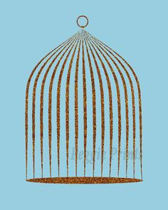 A picture-perfect bronzed gold glitter effect birdcage over a summery blue background. Simple yet refreshing and stylish.  You will be able to