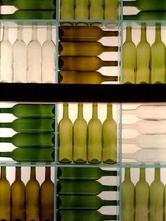 restaurant ideas bottles [wall decor] in shades of green-- Im thinking of recreating this with a series of photos printed on thick canvases or boards and arranged in a grid Bar Design, House Design, Design Room, Deco Luminaire, Wine Display, Bottle Display, Bottle Wall, Cafe Bar, Cafe Menu
