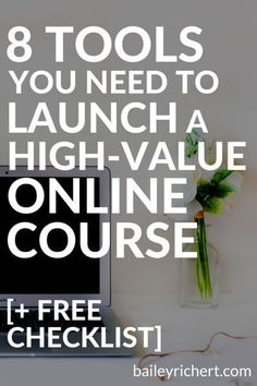 8 Tools You Need to Launch a High-Value Online Course << Bailey Richert // business Marketing Digital, Content Marketing, Affiliate Marketing, Online Marketing, Business Marketing, Marketing Ideas, Marketing Tools, Media Marketing, Business School