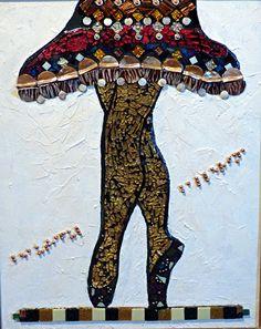"Beautiful Ballerina by Linda M Gardner mixed media mosaic ~ 16"" x 20"""