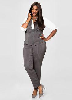 Smart Look Office For Plus Size Women 34 Work Fashion, Curvy Fashion, Plus Size Fashion, Fashion Outfits, Office Fashion, Petite Fashion, Fashion Pants, Plus Size Clothing Stores, Plus Size Womens Clothing