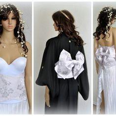 Cherry blossom obi & bow set. Unique bridal sash. Just in.