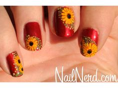 could easily be Sunflowers or Blackeyed Susans also! ~♥~ Floral Nail Art: Nail Designs to DIY - iVillage Flower Nail Designs, Diy Nail Designs, Fingernail Designs, Fall Nail Art, Cute Nail Art, Fall Nails, Sunflower Nail Art, Nail Design Spring, November Nails