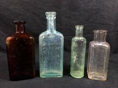 4 Antique Medicine Beauty Bottles General Store Boston New York Philadelphia
